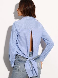 Blue Stripe Tie Cut Out Back Rolled Up Sleeve Blouse