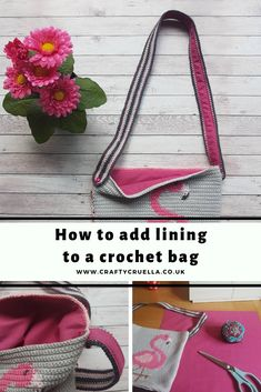 How To Add Lining To A Crochet Bag ~ Fabulous Flamingo Bag Part 2 – Crafty Cruella How to add lining to a crochet bag ~ a full photo tutorial by Crafty Cruella Crochet Crafts, Crochet Yarn, Crochet Stitches, Crochet Projects, Free Crochet, Crochet Patterns, Diy Projects, Crochet Tutorials, Crochet Ideas
