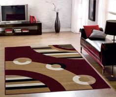 Dark-Red-Contemporary-Circles-Design-Area-Rug-Modern-Home-Decor-5x7