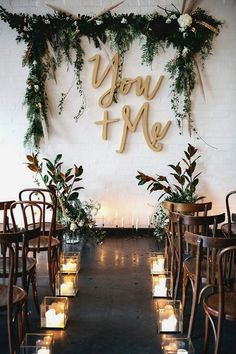 Laser-cut wooden You + Me letters for an industrial-chic wedding ceremony. Here … Laser-cut wooden You + Me letters for an industrial-chic wedding ceremony. Here are 6 Ideas for your Industrial Wedding Arch from Here Comes The Guide! Indoor Wedding Ceremonies, Wedding Ceremony Backdrop, Wedding Reception, Wedding Venues, Indoor Ceremony, Reception Ideas, Wedding Table, Wedding Aisles, Indoor Wedding Arches
