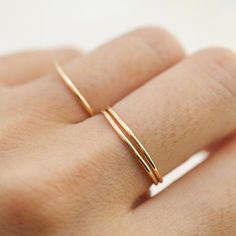Thin yellow gold wedding band hammered ring skinny ring