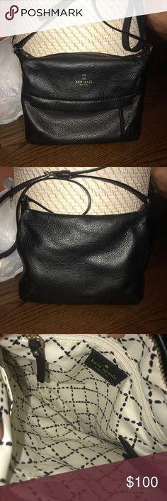 Kate Spade black cross body purse Kate Spade black cross body bag has gold details. Never used and very in style! kate spade Bags Crossbody Bags