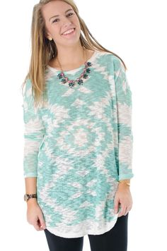L. Mae Boutique - Right or Wrong Mint Aztec Tunic, $36.20 (http://www.lmaeboutique.com/right-or-wrong-mint-aztec-tunic/)