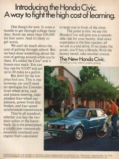 1973 blue Honda Civic hatchback vintage car photo ad (DEFINITELY ANOTHER REASON  WHY I WOULD LIKE AN 8TH GEN. CIVIC #TEAMHONDA)