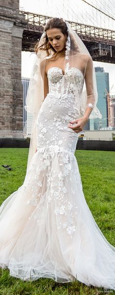 solo merav 2018 bridal strapless sweetheart neckline full embellishment romantic mermaid wedding dress chapel train (15) mv lv -- Solo Merav 2018 Wedding Dresses