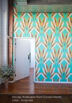 Navajo wallpaper from Cavern Home in Turquoise