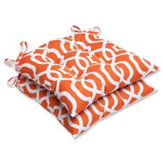 Pillow Perfect Outdoor New Geo Wrought Iron Seat Cushion Orange Set of 2 * Details on product can be viewed by clicking the image