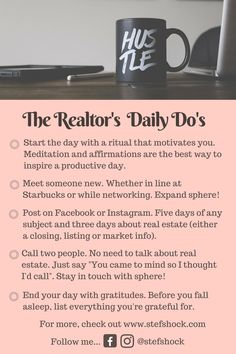 Do these daily and BAM, you've got a thriving business! Meeting Someone New, Productive Day, Daily Affirmations, Motivate Yourself, Real Estate, Inspirational Quotes, Motivation, Business, Life Coach Quotes