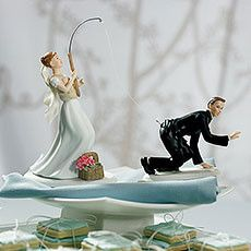 Bride Fishing for Groom Cake Topper