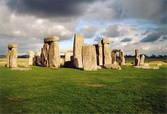 Stonehenge, one of the most well-known prehistoric sites in the world. The Stonehenge is composed of earthworks surrounding a circular setting of large standing stones. Mystery surrounds the site because of its association with pagan beliefs