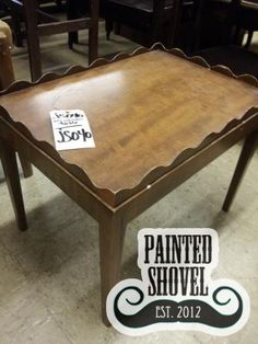 Wood side table sold by auction at Painted Shovel in Avondale, AL.