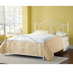 Hillsdale Ruby Metal Bed In Textured White - Queen
