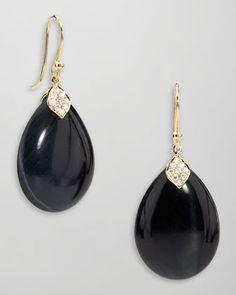 Elizabeth Showers 18k Gold Diamond & Blue Tiger's Eye Drop Earrings