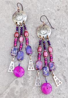 Sleek Boho Pink Tourmaline Turquoise and Old Silver Tribal Bead Statement Earrings Summer Tribe Dangle Earrings