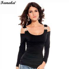 FANALA Top Tees T-Shirt 2017 Women Sexy Long Sleeve Off Shoulder Strap Casual Bodycon T Shirt Slim Tops Femme Women's t-shirts