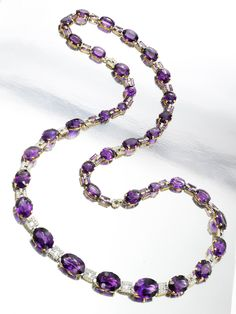 An Art Deco Amethyst and Diamond Sautoir/Belt, by Cartier, circa 1925.     Formally in the Collection of Gladys Deacon, Duchess of Marlborough.    Available at FD Gallery. www.fd-inspired.com