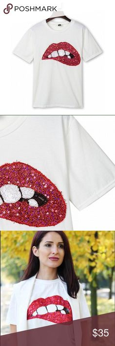 Spotted while shopping on Poshmark: White T-shirt Embellished w/ Red Sequins Lips 💋! #poshmark #fashion #shopping #style #BritsReal #Tops