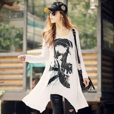 New Fashion Summer long-sleeved T-shirt Korean women's large size loose printing skull blouses Retro Noble sweater casual tops $13.98 - 14.78