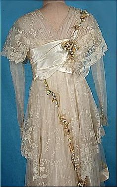c. early 1910's DEBENHAM & FREEBODY, London Museum Quality Ecru Satin Trained Wedding Gown with Lace, Wax Orange Blossoms and Original Veil!
