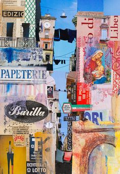 Stampato in Itaia paper collage 46 x 32 cm  I joined Urban Sketchers in Napoli for four intense days of sketching. Fantastic! Of course along the way I photographed and collected tickets, bits from billboards, packaging and stamps.