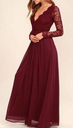 Chiffon Prom Dress,Bodice Burgundy Prom Dress,Lace Prom Dresses,Cheap Prom Dress,Chiffon Bridesmaid Dresses,Simple Prom Dress with Long Sleeves