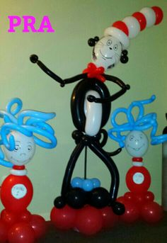 """Really cool!! Gotta figure out how to get these or some how make them - """"Cat in the hat party  #balloondecorating #balloon sculptures #Dr Seuss"""""""