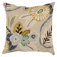 Pillow Perfect Decorative Beige/ Blue Tropical Floral Square Toss Pillow -- $20/each