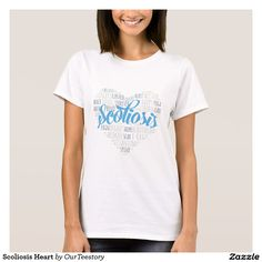 Scoliosis Heart T-Shirt  #White #Basic #Tshirt #Shirt #Love #Scoliosis #Blue #Women #Quotes