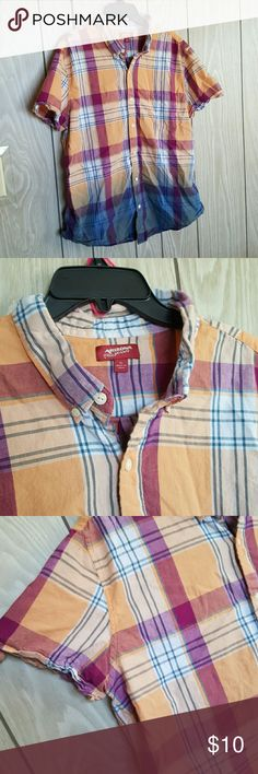 Arizona Jean's Ombre Button-down Shirt It is a size XL and I'm assuming it is a Womens because of how short the sleeves are. It is a orange and blue Ombre plaid color and I am selling for a friend who is having money trouble and offers are definitely welcomed. Arizona Jean Company Tops Button Down Shirts