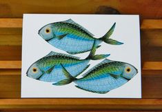 Butterfish blank greeting card by PatWarwickTiles on Etsy