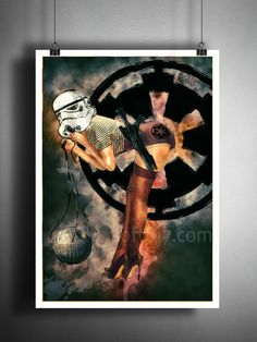 Storm trooper pinup girl art print, done in a watercolor style. Star wars inspired pinup art print. These unique and original artwork are printed on authentic vintage early 1900's dictionary paper fro