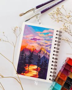 Art Painting Gallery, Painting & Drawing, Watercolor Illustration, Watercolor Art, Art Du Croquis, Gouche Painting, Easy Canvas Art, Nature Sketch, Marker Art