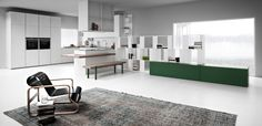 Zampieri - Line K kitchen in ice cement resin and white laquer. Bookcase With Drawers, Drawer Design, Ideal Home, Dining Bench, This Is Us, Divider, Lounge, Table, Room