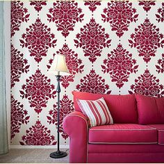 DIY- damask wall paint stencil (this is NOT wallpaper!!)