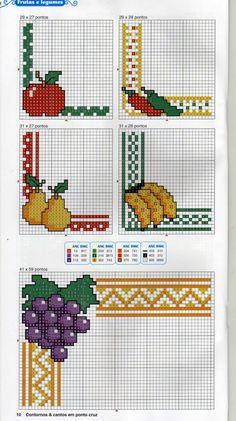 Alguns gráfico para dar aquele acabamento especial nos seus trabalhinhos. Obs.: Para você ver a imagem maior, basta clicar sobre ela.... Grid, Cross Stitch Embroidery
