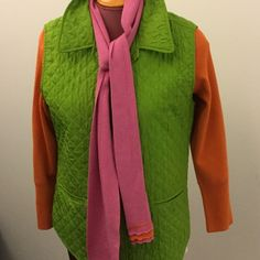 """Cold water Creek vest M Colorful lime green and turquoise vest with six buttons, two front pockets. Best is silk. Lining is acetate with poly filler. It is not thick or warm! Is for inside wear. 26"""" long. Like new Coldwater Creek Jackets & Coats Vests"""