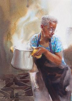 """Okra gumbo"" - Painting by American painter Mary Whyte, lives and works in South Carolina African American Artist, American Artists, African Art, Black Art Pictures, Black Artwork, Afro Art, Black Women Art, Female Art, Female Portrait"