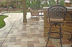 Stamped Concrete Pac West Coatings Carson, CA Concrete Patios, Concrete Patio Designs, Cement Patio, Concrete Stone, Pavers Patio, Concrete Floors, Casa Patio, Backyard Patio, Patio Bar