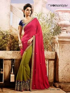 Beautifully designed Green and Pink Georgette saree with heavy embroidery work en-crafted all over. Comes along with Contrast matching Blue Blouse.
