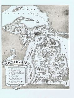 MAP of MICHIGAN Vintage, Adorable, Beautifully Illustrated, Perfect for Framing, Detroit, Motor City, Lansing, Grand Rapids, Flint, Atlas. via Etsy.