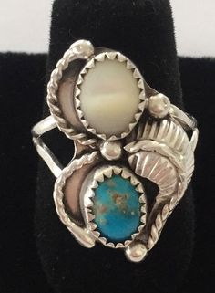 Sterling Silver Native American Mother Of Pearl And Turquoise Ring  | eBay