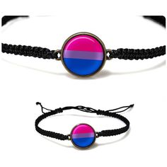 Bisexual Pride Bracelet Bisexual Jewelry Pride Bracelet Resin Bracelet... ($8.50) ❤ liked on Polyvore featuring jewelry, bracelets, bisexual pride, woven bracelet, pink braided bracelet, macrame bracelet, purple jewellery and purple bangles
