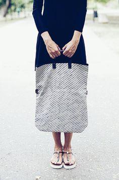 "Shoulder Bags – Cotton Canvas Bag in ""Lines"" Print, Hand Painted – a unique product by zoranajanic via en.DaWanda.com"