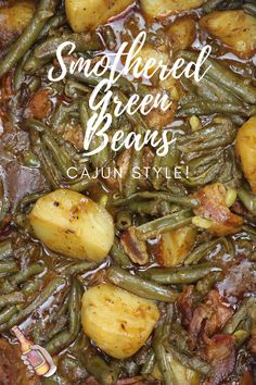 This is an amazingly simple recipe considering the depth of flavor it delivers. Cajun Smothered Green Beans with Potatoes is one of the most popular side dishes in South Louisiana. Green Beans, potatoes and ham flavored with bacon, onions, garlic and spices, all smothered in rich stock. Simmered slowly for about an hour, this recipe brings out the best in comfort food, and that's a lot of good. Veggie Side Dishes, Vegetable Dishes, Side Dish Recipes, Vegetable Recipes, Creole Recipes, Cajun Recipes, Cooking Recipes, Louisiana Recipes, Southern Recipes