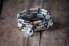 Outlander Upcycled Book Jewelry: Spiral Wrap Bracelet Jamie's Hunting Tartan