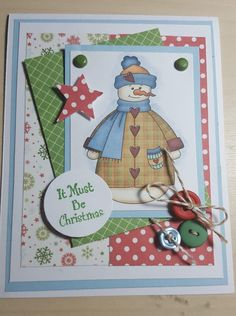 Must Be Christmas Snowman Handmade Christmas Card by LoveInBloomCreations on Etsy