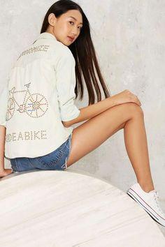 Vintage Ride a Bike Studded Denim Top - Tops