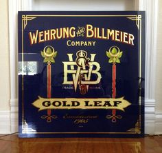 Beautiful reverse glass gilding on this sign made by Bruce Buckley for W & B Gold Leaf.