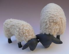 Colin's Creatures Collection of Porcelain Wooly Animals --  Suffolk Ewe and Lamb