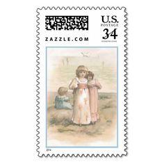 "Vintage ""Little Beachcombers"" Postal Stamp"